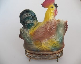 Vintage Mid-Century Made in California #336 Rooster Planter with Metal Base