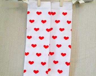 Cotton Baby Leg Warmer White with Red Hearts