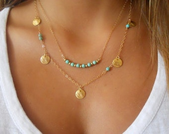 Turquoise metal necklace
