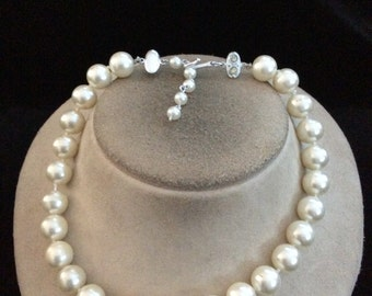 Vintage Signed Japan Rhinestone Clasped Faux White Pearl Beaded Necklace