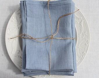 Linen napkins. Set of 6. Greyish Blue. Hand made by LinenSky.