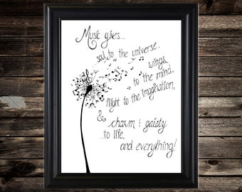 Instant Download - Plato Quote, Dandelion, Music Note Dandelion, Flying Music, Music Quote, Black and White Art, JPEG, Digital Download, bnw