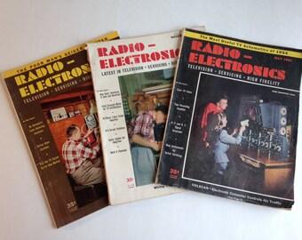 3 Radio - Electronics Magazines from the 1950s