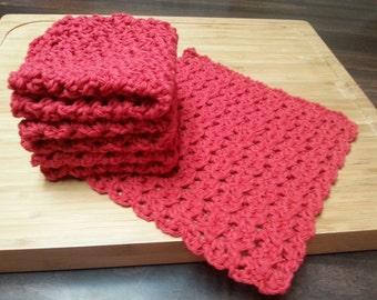 Crocheted Cotton Dishcloths, Set of 4, Red, White, Ecru, Crochet Dishrag, Housewarming Gift, Kitchen Dishcloth