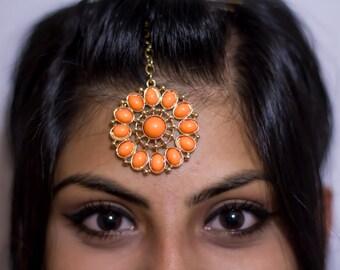 Round Gold and Orange Indian Tikka (Headpiece) Jewelry | Hair Jewelry
