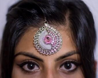 Elegant Pink and White Pearl Indian Tikka (Headpiece) Jewelry | Hair Jewelry
