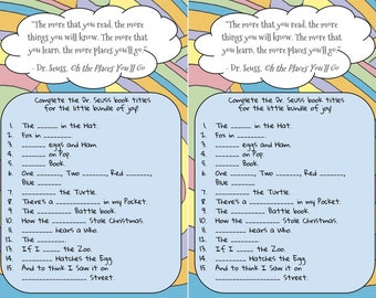 Dr. Seuss Book Title Game - Baby Shower