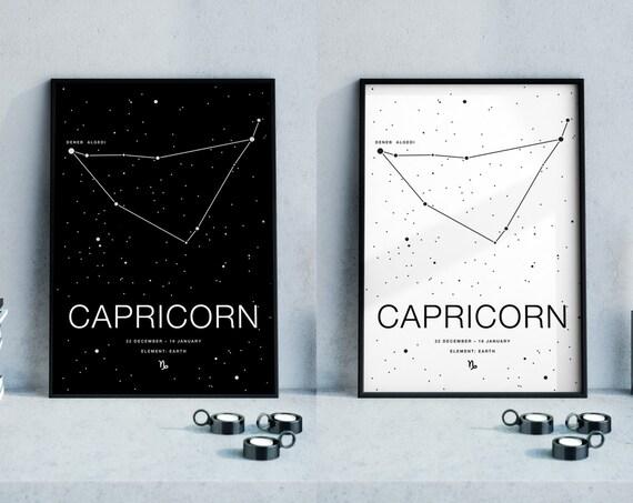 capricorn zodiac sign december 22 january 1 wall decor. Black Bedroom Furniture Sets. Home Design Ideas