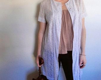 Vintage Lace dress jacket Perfectly sweet 60s impeccable white lace short sleeved jacket - size XS