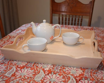 Large Rectangular Wooden Serving Tray with Handles, Unfinished Wood Tray, Scalloped Edge Tray, Smooth sides and handles