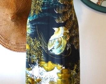 Vintage 60's/70's Graphic Print Flutter Sleeve Hippie Boho Mr. Robert Maxi Dress Size M