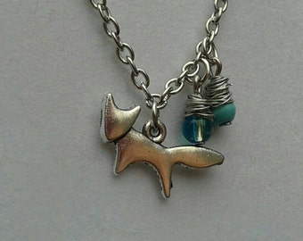 Fox necklace, wire wrapped beads