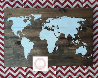 World map wooden sign, world map, pallet sign