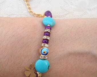 Bracelet, Gemstone Bracelet, Turquoise Bracelet,Purple Bracelet, Handmade Bracelet, Gifts for Her