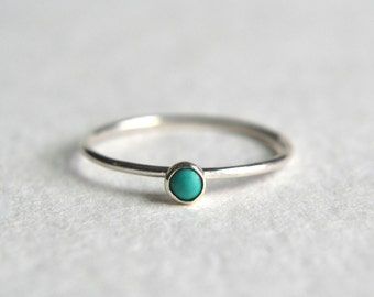 One Sterling Silver Turquoise Ring, Stacking Ring, Dainty Ring, Stackable Ring, Simple Ring