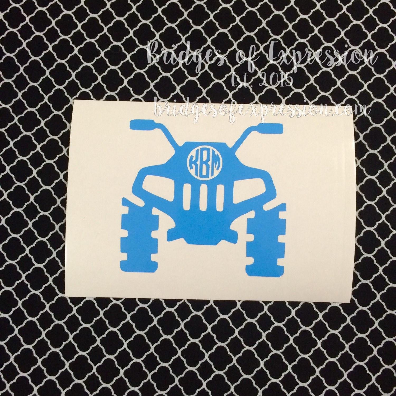 4 wheeler atv monogram glossy decal sticker