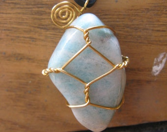 Amazonite stone necklace w/ gold plated wire -- black leather cord, reversible, wire wrapped necklace, boho, deerskin lace, chakra, green