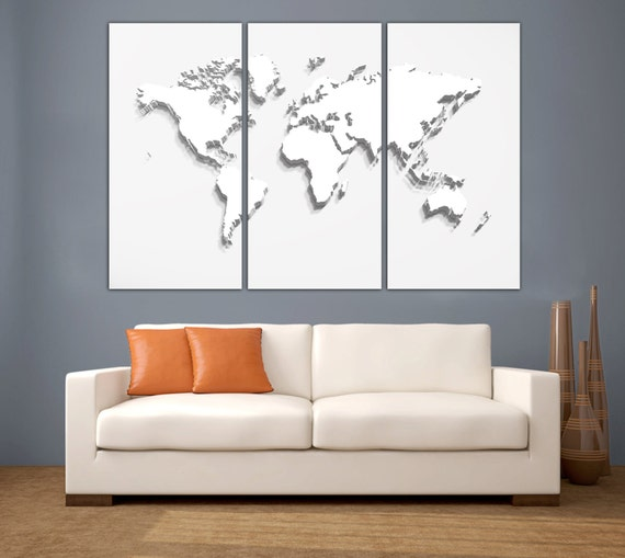 3 Panel Split Art World Map Canvas Print Triptych For: 3 Panel Split Art 3D Effect World Map Canvas Photograph
