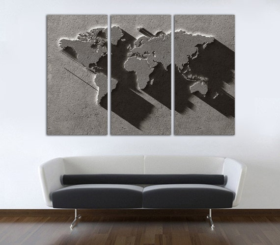 3 Panel Split Art World Map Canvas Print Triptych For: 3 Panel Split Art 3D World Map Canvas Print 1.5 Deep By