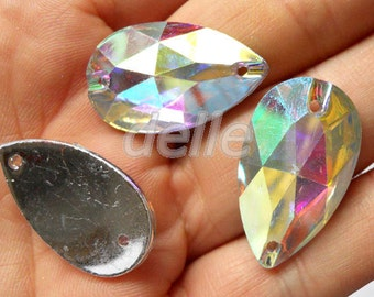 100PCS 17x28mm Faceted Flatback RESIN Crystal Clear AB Teardrop Sew On Beads Jewelry Making