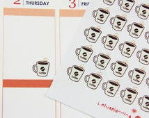 154 Coffee Planner Stickers, Perfect for Erin Condren, Limelife, Plum Paper, or Filofax Planner - ECLP1118