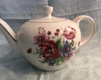 Wood & Sons England Teapot, Vintage Alpine White Ironstone Teapot