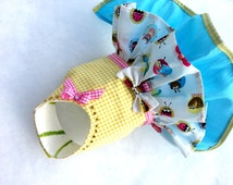 Small dog clothes dress Chihuahua T - cup puppy Yorkie coat Harness outfit Love Bug Size XS