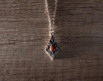 Collar filigrana con forma diamante con piedra naranja, colgante, collar, Marruecos, bereberes, cumpleaños, regalo, presente, singular, abarcan