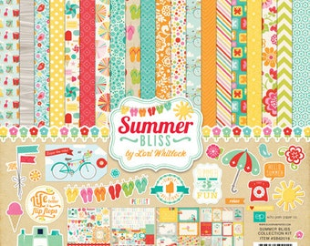 Echo Park Summer Bliss Collection Kit Scrapbook Papers and Stickers