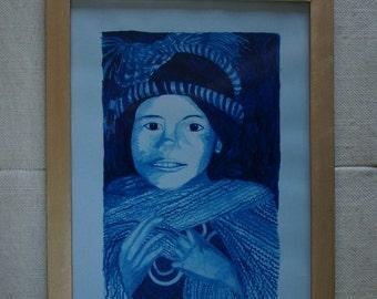 Children - blue Watercolor Painting