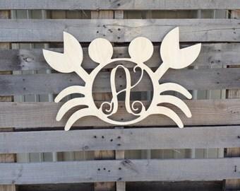 Wooden monogram letter crab