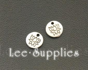 50pcs Antique Silver Alloy Lotus Flower Charms Pendant A1100