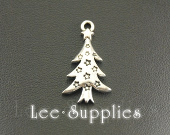 10pcs Antique Silver Alloy Christmas Tree Charms Pendant A766