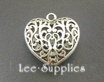 2pcs Antique Silver Alloy Filigree Huge 3D Heart Charms Pendant A464