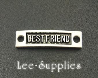"""10pcs Antique Silver Bronze Letter """"Best Friend"""" Connector Link Charms A465/A1033"""