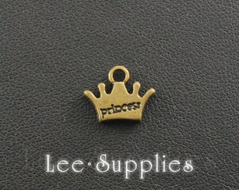 20pcs Antique Bronze Alloy Princess Mini Crown Charms Pendant A166