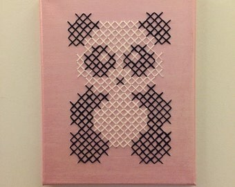 Panda Cross Stitch on Canvas
