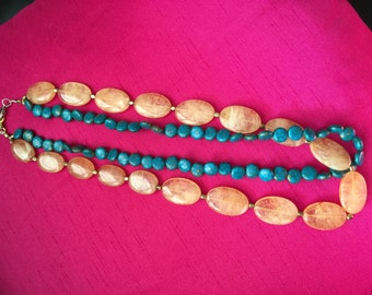 Fire agate and turquoise necklace
