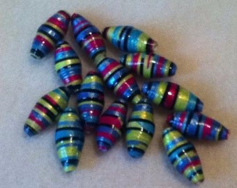 14 Hand Painted, Hand Rolled Paper Beads