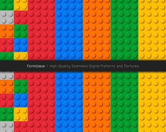 Lego Inspired Multi-Colored Block Patterns - 6 Seamless Digital Patterns Included