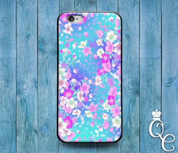 iPhone 4 4s 5 5s 5c SE 6 6s 7 plus iPod Touch 4th 5th 6th Gen Beautiful Flower Floral Blue Pink Collage Cute Phone Cover Custom Case