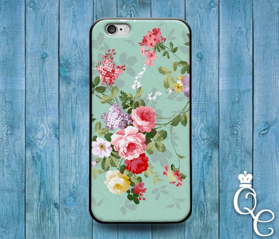 iPhone 4 4s 5 5s 5c SE 6 6s 7 plus iPod Touch 4th 5th 6th Gen Cute Green Colorful Vintage Flower Floral Phone Case Cool Pretty Custom Cover