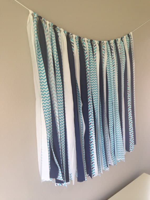 blue and white fabric banner, bunting, garland, photo prop, baby shower, wedding decor, birthday decor READY TO SHIP 3 feet by 36 inches