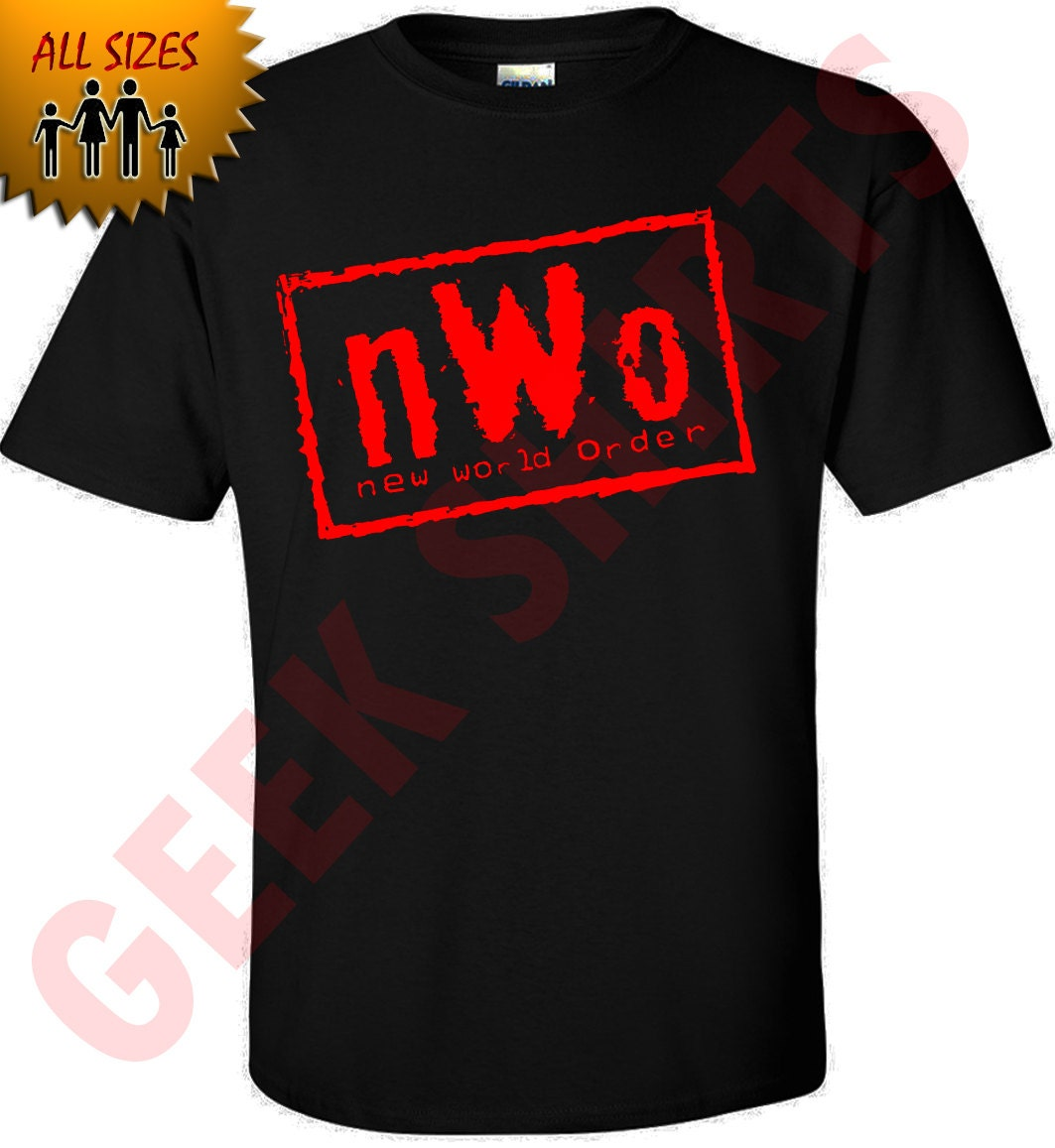 New world order t shirt nwo logo wcw professional wrestling for Where to order shirts with logos