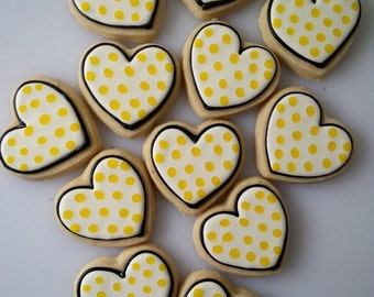 Yellow Polka Dot Heart Cookies - One Dozen Decorated Cookies