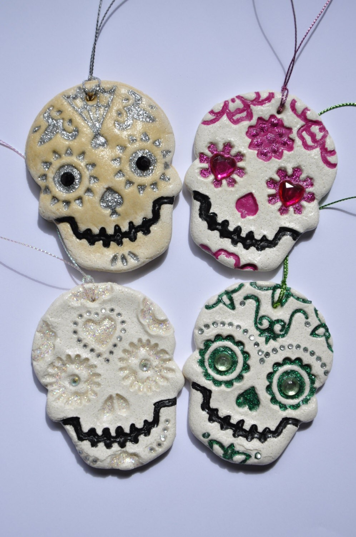 Sugar Skull Day Of The Dead Salt Dough Hanging Decoration