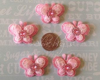 Butterfly applique's - 5pc pink butterfly - felt applique set - hair bow centers - Hair bow supplies - Scrapbook supplies - Baby shower