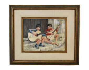 1969 Oil Painting Boy Buskers Sicilian Street Musicians w Classical Guitars