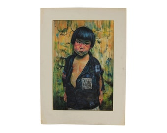 1962 Original Pastel Painting Portrait Asian Peasant Boy in Tattered Shirt sgnd Hove