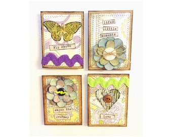 Four Boho Chic Refrigerator Magnets Cute Butterfly and Heart Unique Inspirational